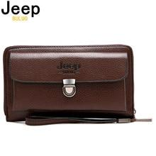JEEPBULUO العلامة التجارية الرجال محافظ جديدة عادية للجنسين حافظة نقود حقيبة صغيرة سعة كبيرة انقسام محفظة جلدية حقيبة يد طويلة للرجال