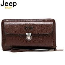 Jeepbuluo carteira unissex de couro, nova carteira casual unissex de marca feita em couro com tamanho grande