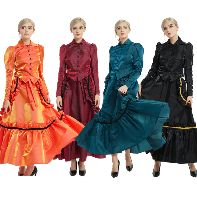 Adult Carnival Costumes for Women Vintage Civil War Colonial Bustle Ball Gown Victorian Dress