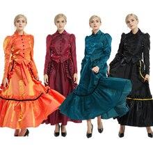 Mujeres Edwardian Victorian Bustle Dress Guerra civil de la vendimia Noble Colonial Ball Gown Disfraz de Cosplay Rojo / Negro / Azul / Púrpura