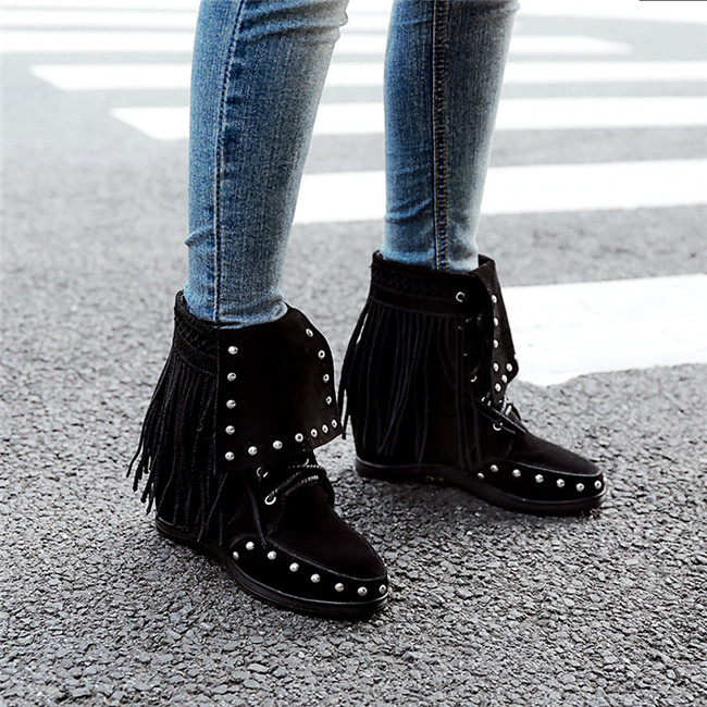 5600146877c YMECHIC Lace Up Suede Western Cowboy Boots Women Fringe Rivet Cross Tied  Fashion Gothic Punk Ladies Ankle Boots Shoes Plus Size