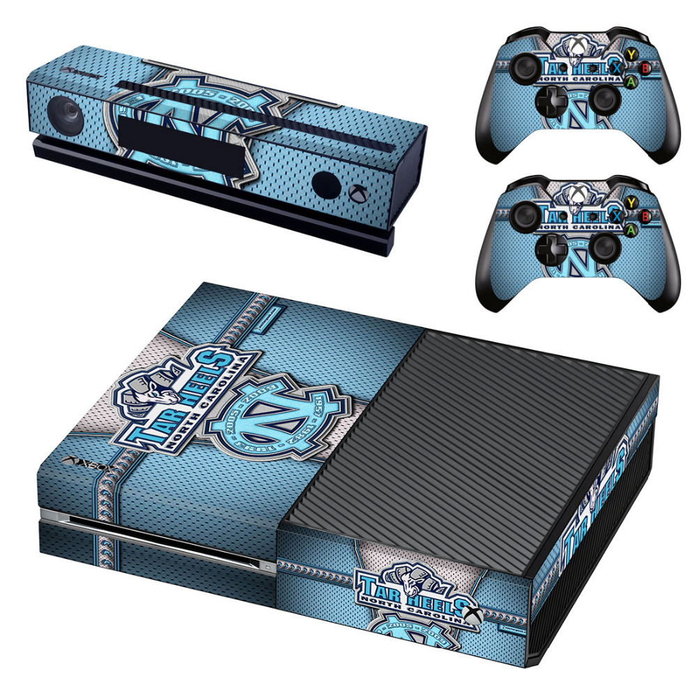 UNC Decal Skin Sticker for Microsoft Xbox One Kinect and Console and 2 Controllers Vinyl Game Stickers