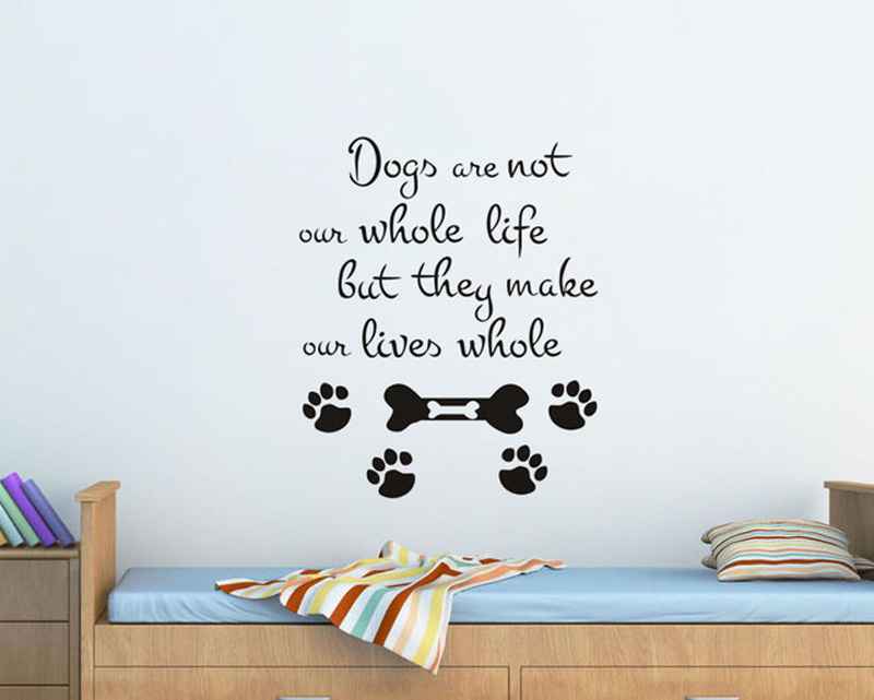 Grooming Salon Pet Shop Decor Vinyl Wall Sticker Dogs Paw