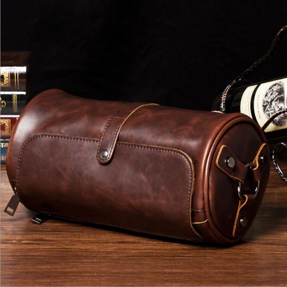 2018 Men's high-quality Crazy Horse PU Leather Travel Vintage Cylindrical Cross Body Messenger Shoulder bag