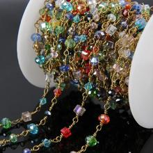 5Meter Mixed shape Glass Rondelle Chains,Brass Wire Wrapped Rosary Chain Multi-color Glass beads Charms Jewelry