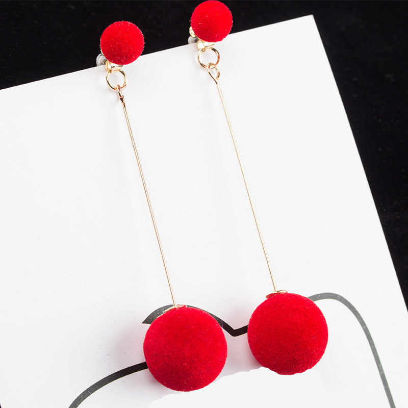 Fashion 2019 New Simple Plush Ball Drop Earrings For Women Korea personality Round Long Tassel Earrings Statement Jewelry Gift in Drop Earrings from Jewelry Accessories