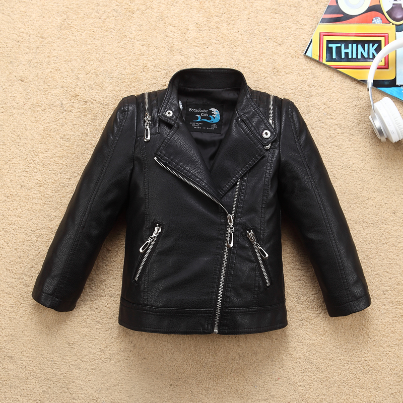Shoulder Zipper Boys Leather Jacket Turn Down Collar Waterproof Leather for Fall Spring Kids Motor Coat Bomber Clothes striped trim zipper up bomber jacket