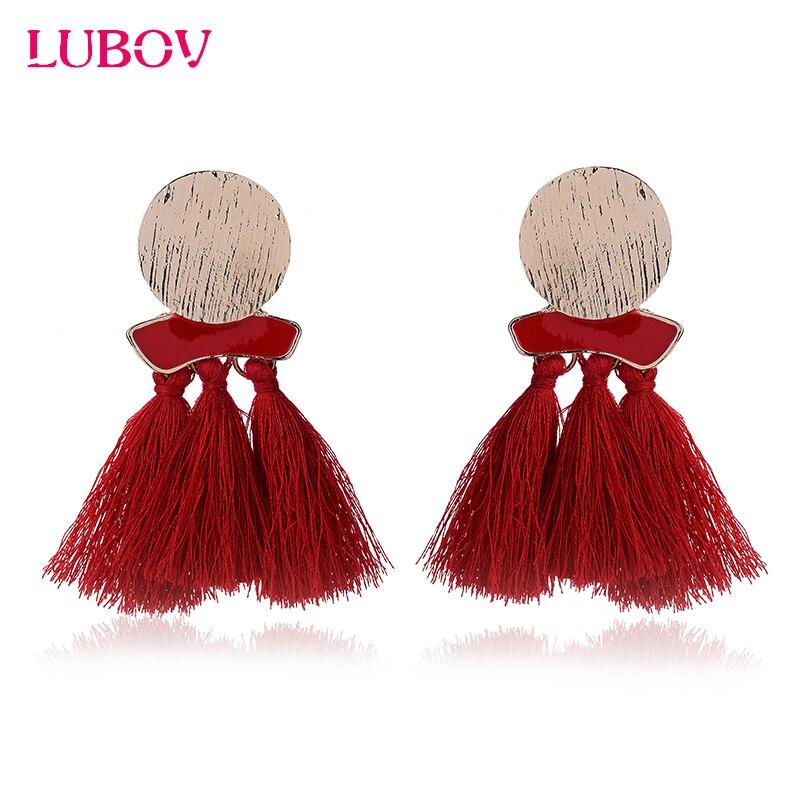 LUBOV Fashion Acrylic Stone Metal Stud Earrings Beautiful Long Tassel Earring Women Jewelry 2018 New Year Gift for Girlfriend
