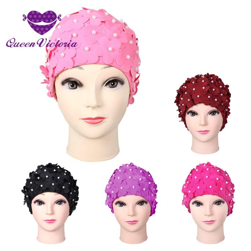 ΞNueva Nylon más diseño del tamaño flores mujeres gorro 5 colores ...