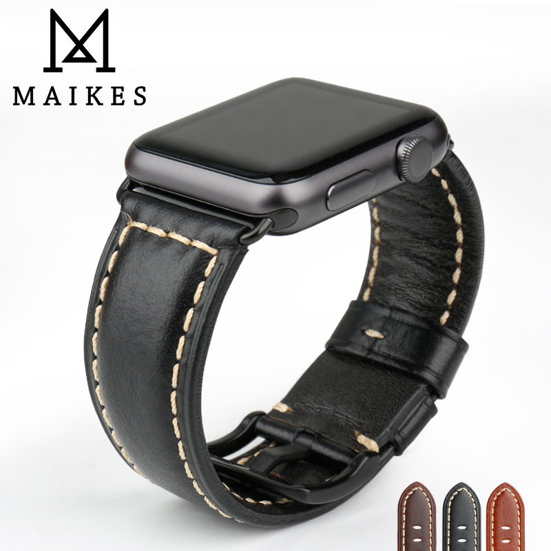 MAIKES Watchband Genuine Leather Strap For Apple Watch Strap 42mm 38mm iWatch Watch Bracelet With Adapter Black Apple Watch Band 6 colors luxury genuine leather watchband for apple watch sport iwatch 38mm 42mm watch wrist strap bracelect replacement