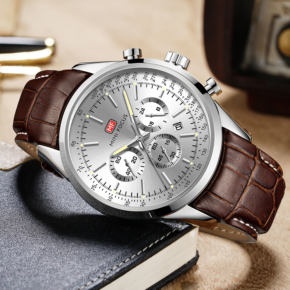 MINIFOCUS Casual Business Quartz Watch Men Top Brand Luxury Brown Leather Strap Date Display Multifunction Wristwatches For Man