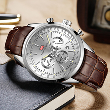 MINIFOCUS Casual Business Quartz Watch Men Top Brand Luxury Brown Leather Strap Date Display Multifunction Wristwatches for Man business style date display full metal quartz watch for men longbo 80149