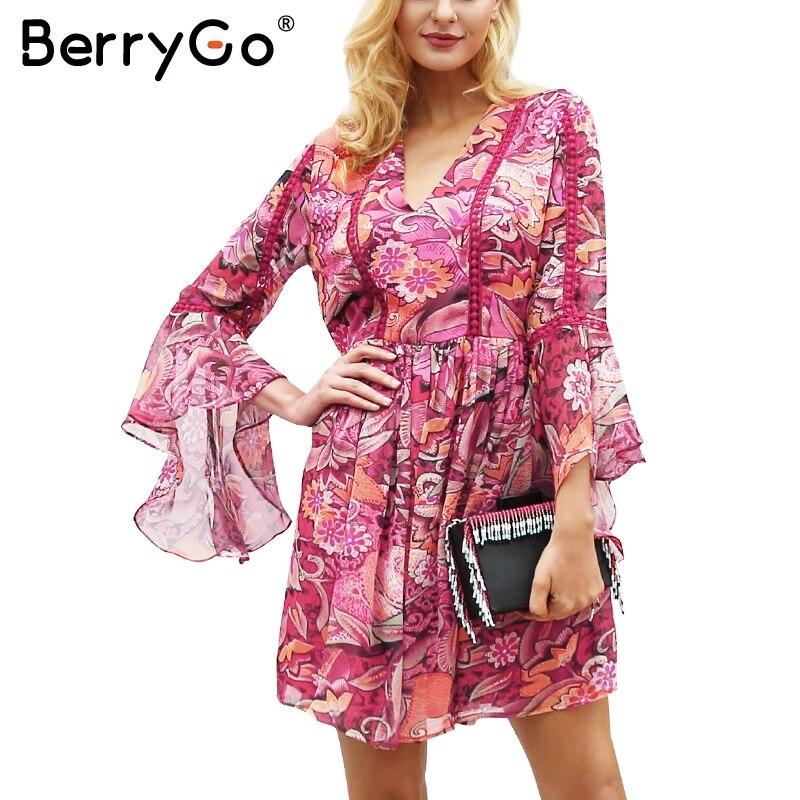 BerryGo Casual v neck floral print dress women Flare sleeve high waist dress autumn winter Fashion robe dress female vestidos белая рубашка с объемными рукавами и вырезом