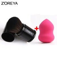 Zoreya Brand Hot Sales 2pcs Retractable Make Up Brushes Set With Cosmetics Puff Powder Makeup Professional