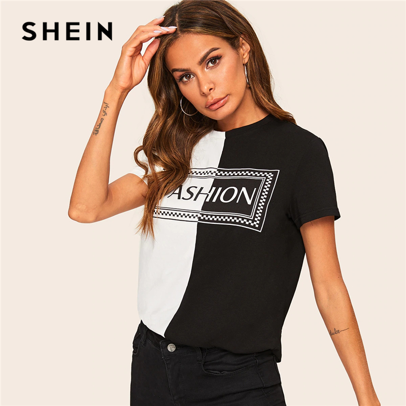4d74a21a SHEIN Casual Black and White Two Tone Letter Print Tee Short Sleeve T Shirt  Women Summer 2019 O-Neck Color-block Tshirt Tops