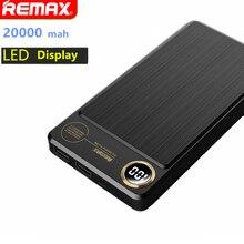 Remax dual usb power bank 20000 мАч портативный мобильный телефон зарядное устройство жк-индикатор powerbank для iphone 7 6 samsung внешняя батарея