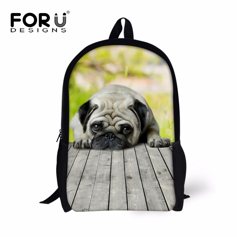 FORUDESIGNS Preppy Style School Bag for Kids 3d French Pug Dog Schoolbag Bookbag Primary Kids Shoulder Book Bag Child Animal Bag ...