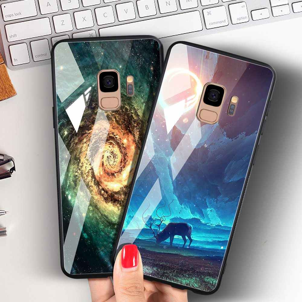Odifren Space Case for Samsung Galaxy S9 S9 Plus Case Note 9 Tempered Glass Cover Coque Phone Cases for Samsung Galaxy Note 8 9