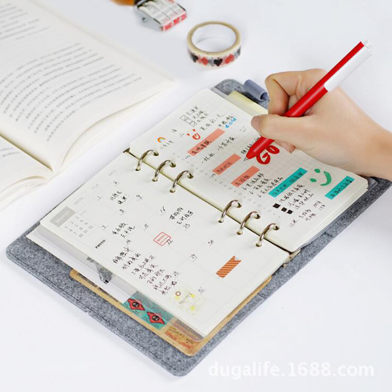 2017 New Kawaii Personal Organizer Diary Planner Weekly Schedule Notebook Felt Coil Spiral Binder Travel Agenda Journal Notepad cartoon cat cute notebook leather notebook personal diary agenda organizer binder daily weekly planner travel notebook school