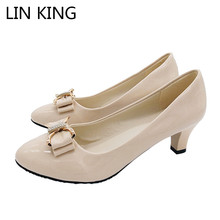 Купить с кэшбэком LIN KING Sexy Butterfly-knot Pointed Toe Women Pumps Fahion Solid Women High Heel Shoes Slip On Bowtie Tick Heel Shoes For Girls