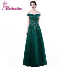 f4541ea2 Oscuro verde vestido De noche largo 2019 vestido De fiesta nuevo tul encaje  flor con cuentas cuello Barco De la novia De baile D..