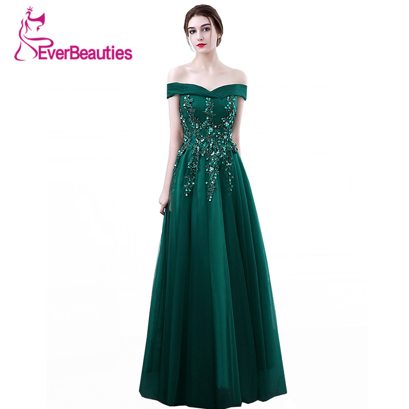 Dark Green   Evening     Dress   Long 2019 Robe De Soiree New Tulle Lace Flower Beaded Boat Neck The Bride Banquet Prom Party Gown Abiye