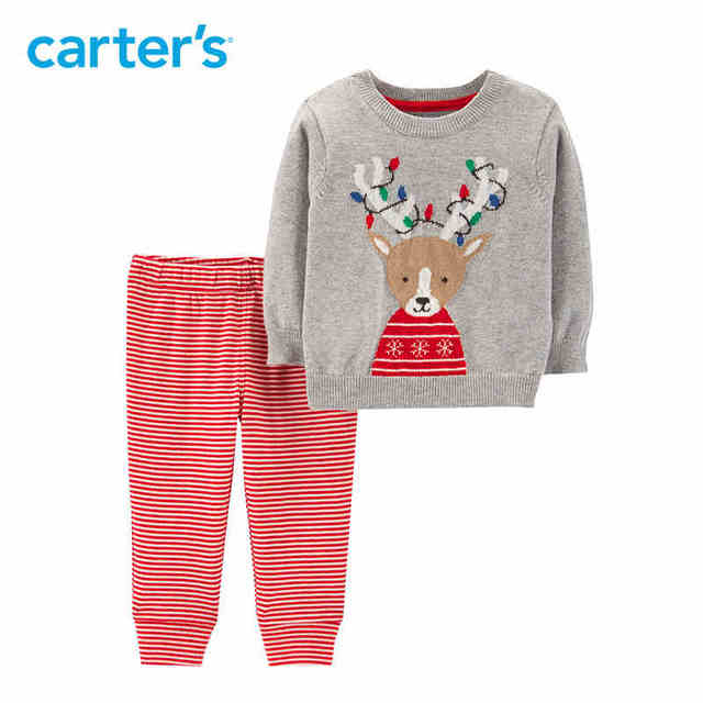 6c649a5c4 Carters Christmas baby clothing set reindeer long sleeve pullover sweater  striped pant baby girl clothes newborn boy 119G379