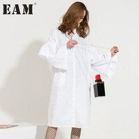 [EAM] 2017 automne hiver Nouvelle Mode Dolor Solide Volants Couture Tissu Manches Longues de Split Hem Chemise Femelle Robe A00140
