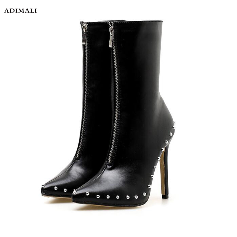 Genuine Leather Thick Heel Round Toe Lace Up Winter Boots Superstar Punk Rock Metal Rivets Fasteners Ankle Boots new arrival genuine leather rivets thick heel round toe metal decoration women ankle boots handsome motorcycle winter boots l50