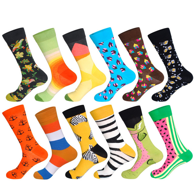 LIONZONE 12Pairs/Lot Men Funny Colorful Combed Cotton Socks Dozen Pack Oil Painting Character Casual Dress Wedding Happy Socks 1