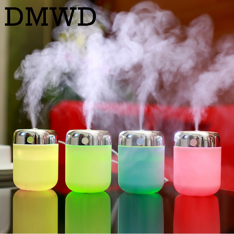 DMWD MINI Ultrasonic Humidifier Luminous Cup USB Car Aroma Diffuser Portable Mist Maker Air Purifier Colorful LED Night Light 130ml usb mini wooden ultrasonic aromatherapy humidifier portable mist maker led light dc 5v aroma diffuser air purifier