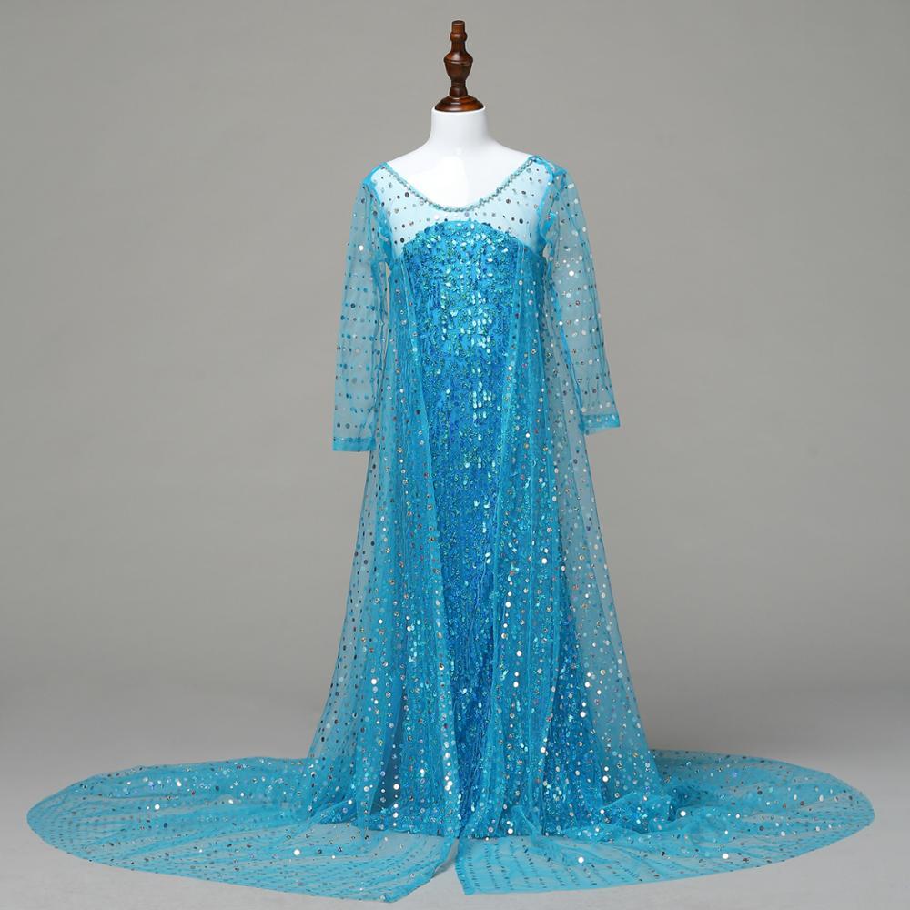 10PCS Girls Snow Queen Costume Blue Elsa Snow Princess Dress ...