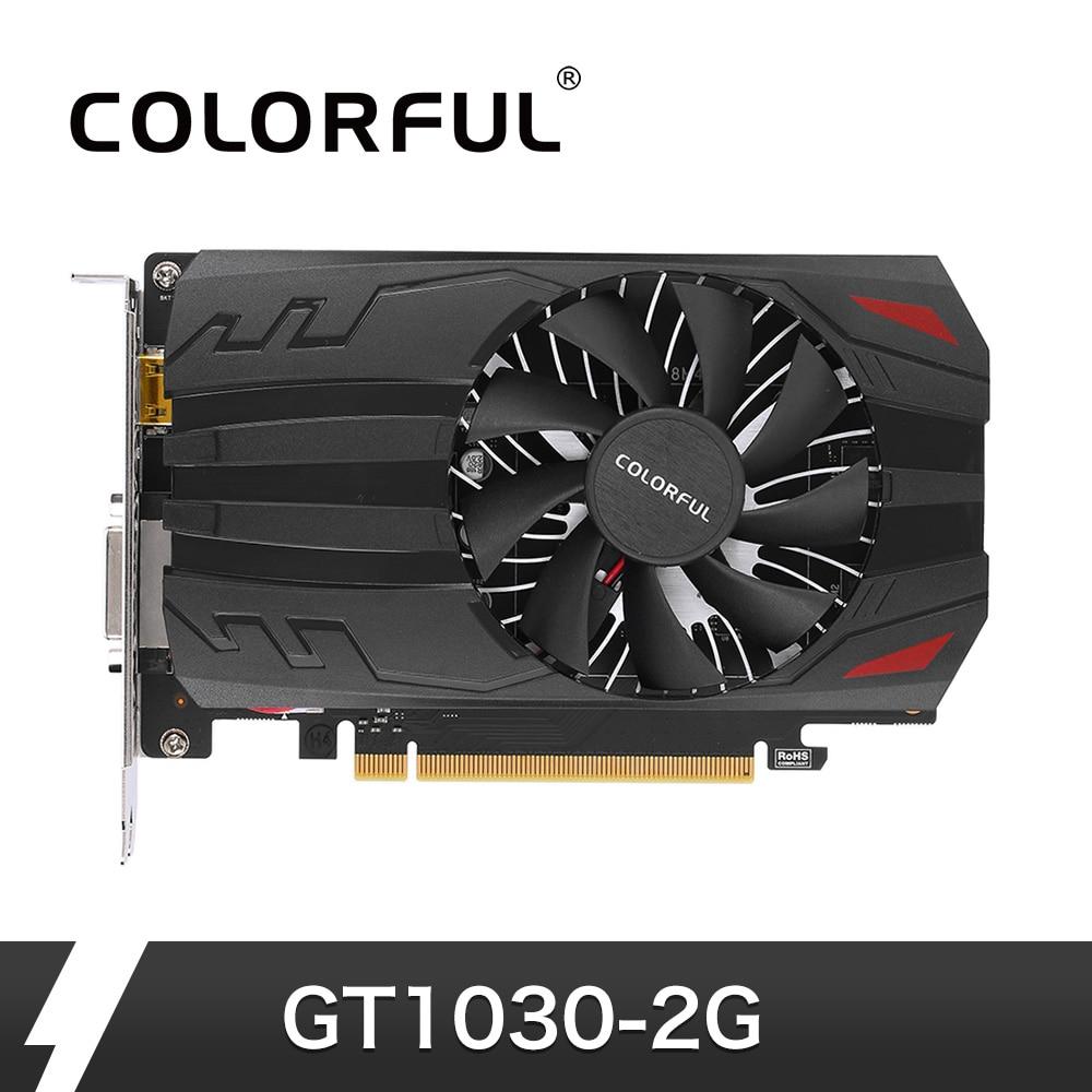 Красочные NVIDIA GeForce GT 1030 видеокарта 2 ГБ 64bit GDDR5 PCI E 3,0 DVI  HDMI Порты и разъёмы Графика карты для компьютера PC Gaming купить на  AliExpress