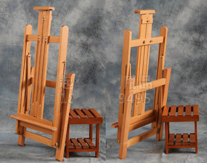 Image 4 - Multi purpose lifting oil painting easel folding sketch easel artist exhibition stand wood painting cavalete advertising  board