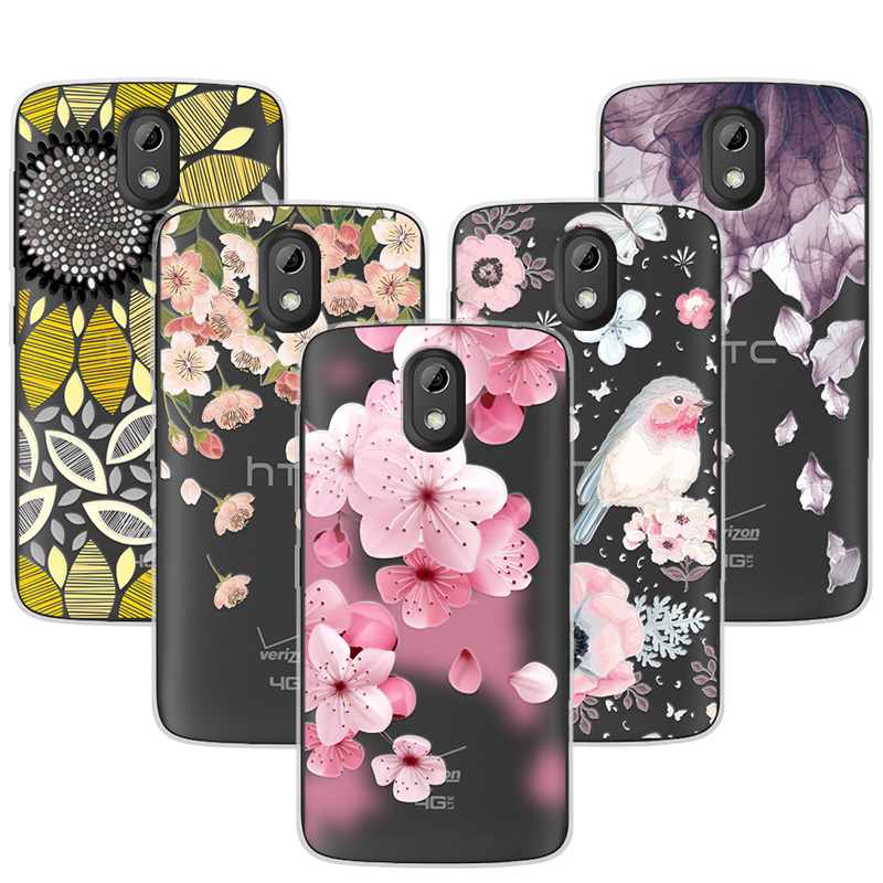 "3D Relief Phone Case For HTC 526 4.7"" Floral Cartoon Peach Lace Soft Silicone Back Cover For HTC Desire 526 526G 326 326G Coque"