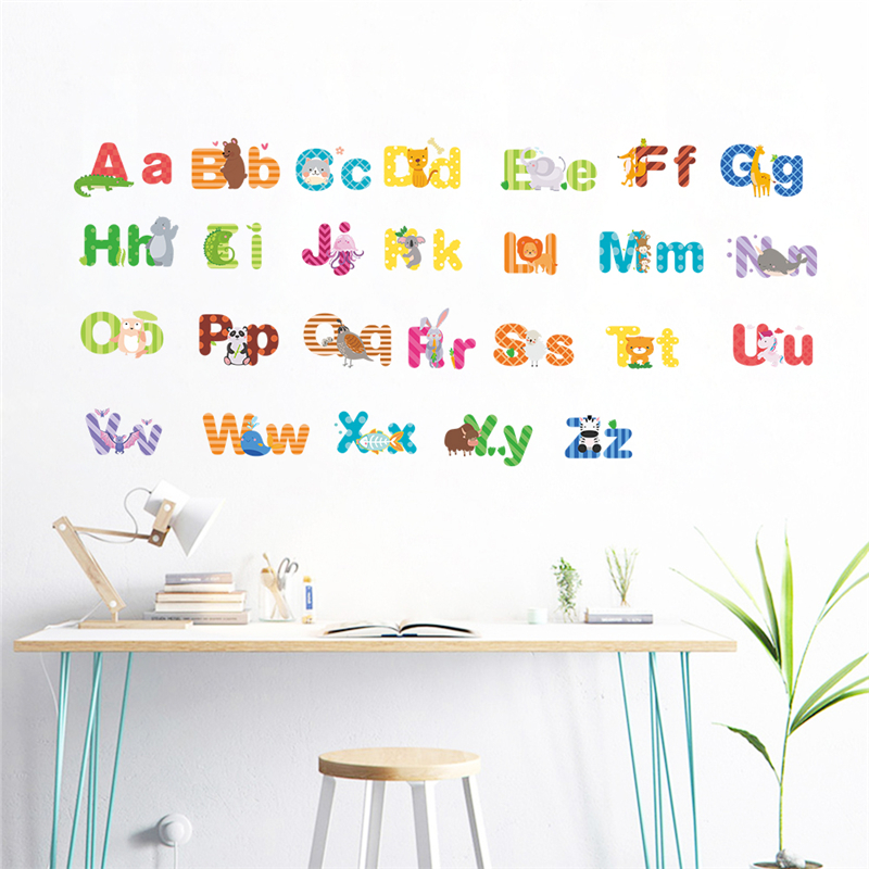 Us 2 74 20 Off Creative 26 Abc Alphabet Wall Stickers For Kids Rooms Nursery Home Decor Cartoon Animals Decals Pvc Mural Art Diy Posers In