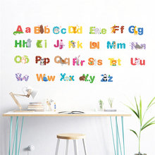 Creative 26 ABC Alphabet Wall Stickers For Kids Rooms Nursery Home Decor Cartoon Animals Decals Pvc Mural Art Diy Posers