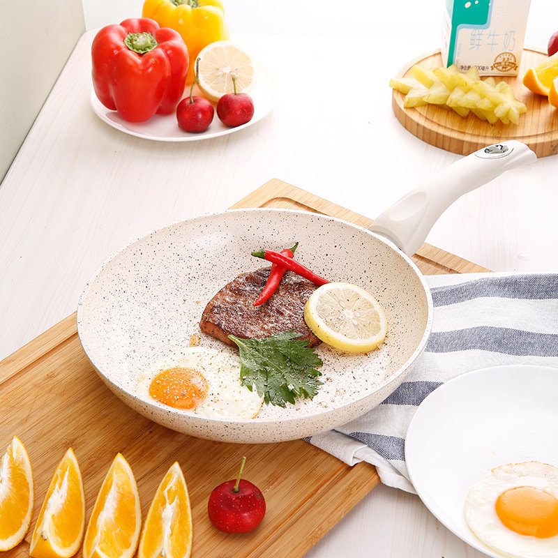 20cm Frying Pan Milk White Non-stick Smokeless Healthy Eggs Pot Fried Steak Pan General Use For Gas And Induction Cooker20cm Frying Pan Milk White Non-stick Smokeless Healthy Eggs Pot Fried Steak Pan General Use For Gas And Induction Cooker