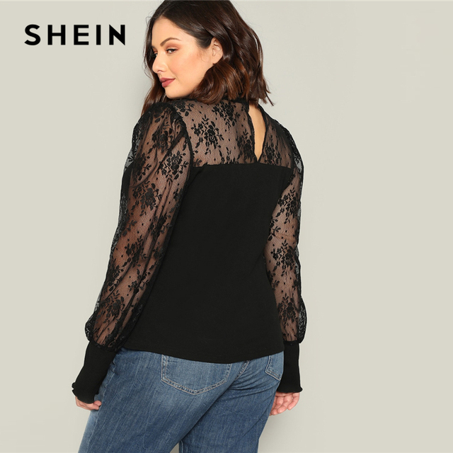 SHEIN Plus Size Black Mesh Puff Long Sleeve Stand Collar Women Casual T Shirt 2019 Spring Elegant Solid Tops Tee 1
