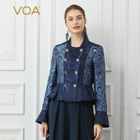 VOA Double Breasted Coat Women Silk Jacket Peacock Printed Ceket Ladies Suit Clothes Fall Long Sleeve Veste Retro Chinese W339
