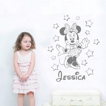 Cute Minnie Wall Decal Custom Name Vinyl Sticekrs For Kids Rooms Baby Gift Girls Bedroom Art Mural Personalized DIY Decor SYY957
