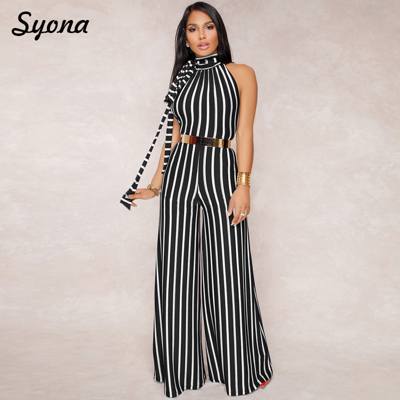 Sexy Stripe JUMPSUIT Elegant Wide Leg Pants Maxi ROMPER Long Women Overalls Female Backless Formal Party Wedding Palazzo Jum