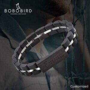 Image 1 - BOBO kuş ahşap bilezik kadınlar için ücretsiz kazınmış isim erkekler bilezik paslanmaz çelik bileklik yıldönümü erkekler için hediye pulseras mujer