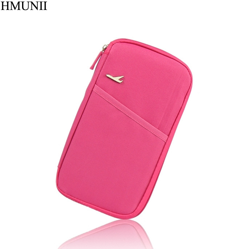 HMUNII Travel Passport Cover Bag Travel Multifunction Holder Storage Organizer Clutch Money Bag E1-01