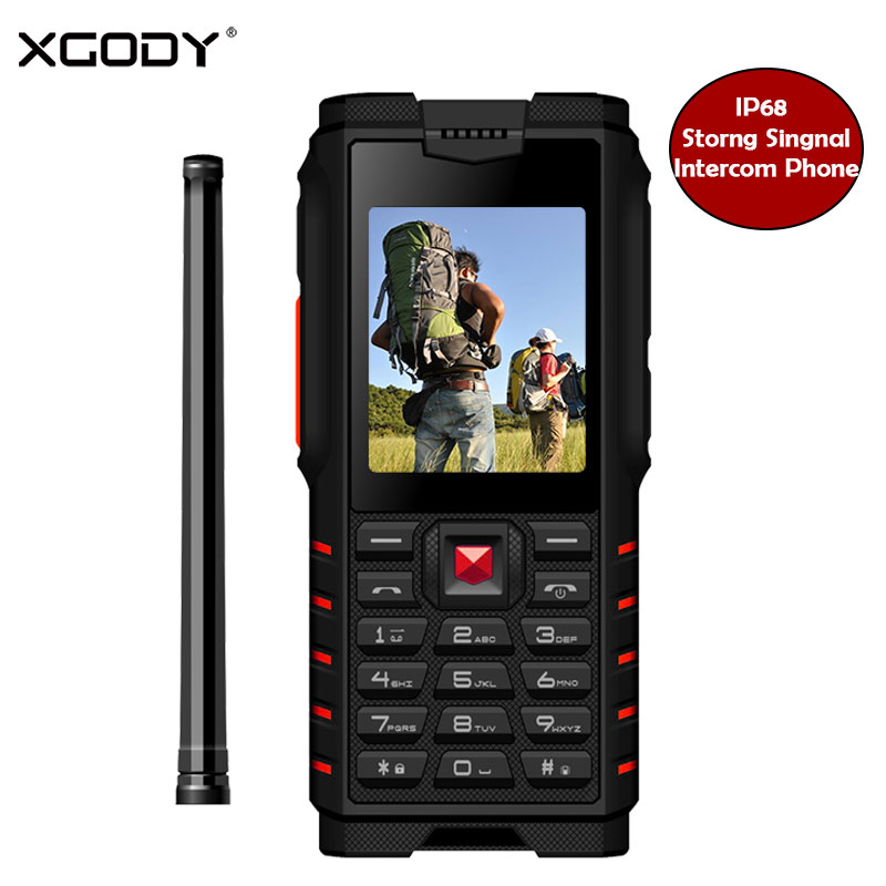 XGODY ioutdoor T2 Shockproof Feature Phone ip68 Walkie-talkie Intercom 4500mAh Power Bank 2.4 Inch 2G GSM Unlocked Smartphone