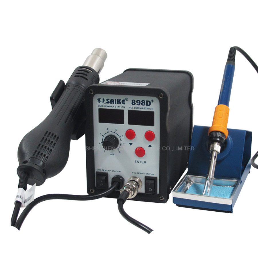 1 pc 110/220V 898D+ Welding Solder Iron Heat Hot air Gun with English Manual Soldering Station Welder ems dhl fast shipping 230v 3000w heat element for for heat gun handheld hot air plastic welder gun plastic welder accessories