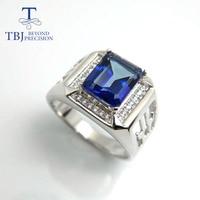 TBJ,Coated tanzanite color topaz ring in 925 silver men's ring in topaz ,925 silver men ring with gift box,for men's gift