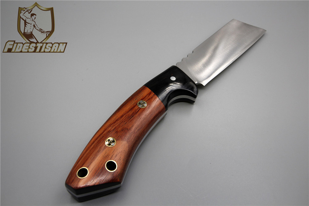 Hand-made band sawtooth multi-functional utility sharp knife wood handle 9Cr18Mov Fixed strong leather case Light field survival