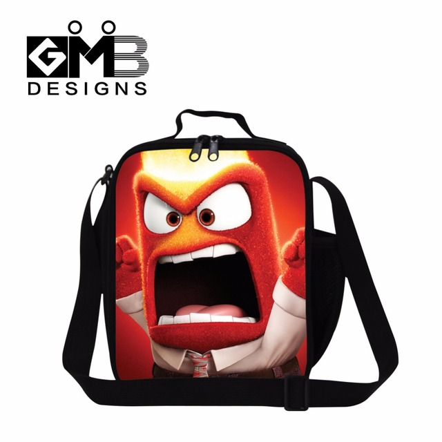Cartoon Insulated Lunch Cooler bags for girls,Teen Inside Out Printed kids lunch bags personalized lunch bag with shoulder strap