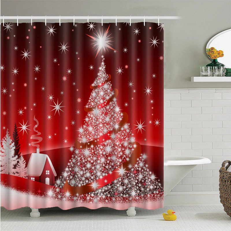 Christmas Decor Candle And Tree Waterproof Fabric Shower Curtain Bathroom 71Inch
